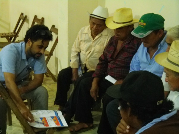 Ronjon Chakrabarti, Adelphi, in a meeting with end-users members of Ejidos in the Peninsula of Yucatan.