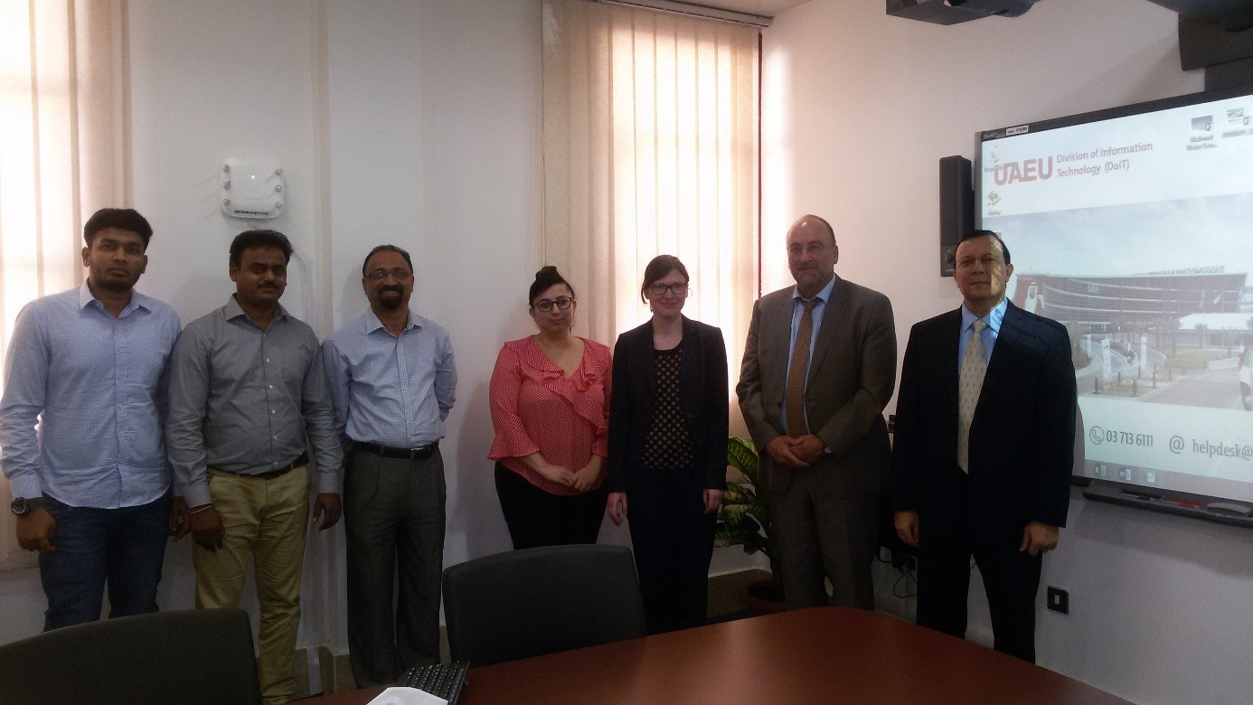 SUBSOL meeting with the National Water Center (NWC), Al Ain, UAE (f.l.t.r.): Eng. Jaman, Dr. Sadhasivam, Mr. Shetty, Dr. Khalaf (all NWC), Dr. Groeschke, Dr. Klingbeil (both BGR), Prof. Dr. Sherif, Director NWC